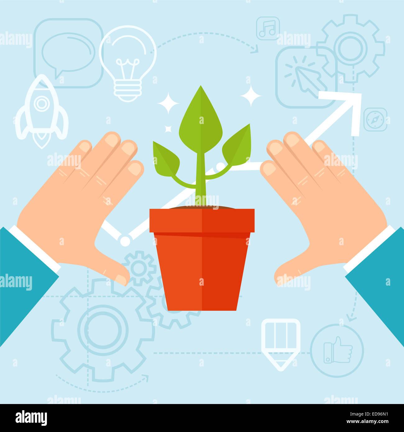 Persönliche Entwicklungskonzept im flachen Stil - Grünpflanze und menschliche Hände Stockbild