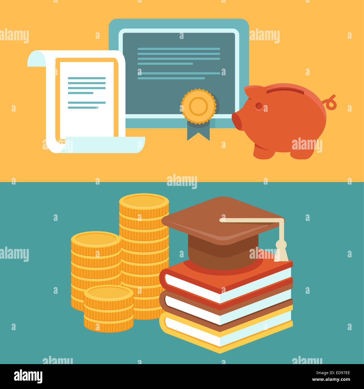 Investieren Sie in Bildungskonzept in flachen Stil - Stapel von Münzen und Buch mit Universität Hut Stockbild
