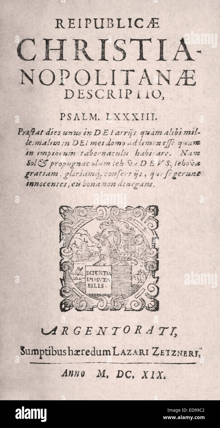 Frontispiz von Reipublicae Christianopolitanae Descriptio von Johannes Valentinus Andreae. Stockbild
