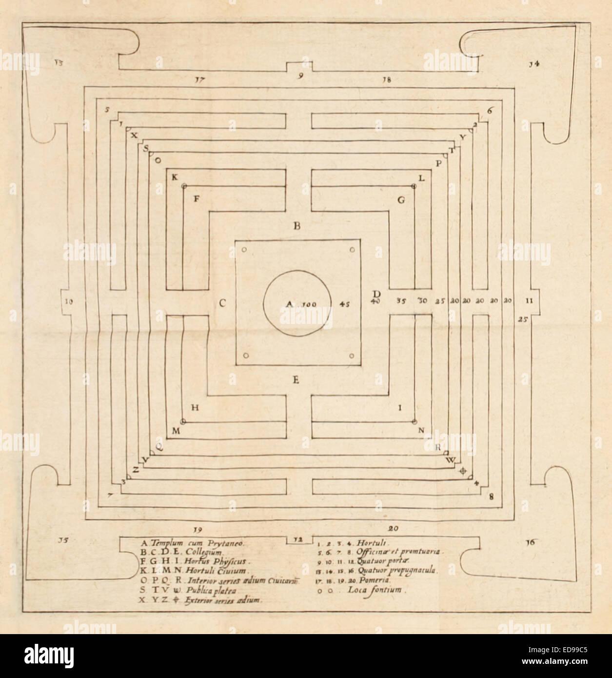 "Plan des Christianopolis von ""Reipublicae Christianopolitanae Descriptio"" von Johannes Valentinus Andreae Stockbild"