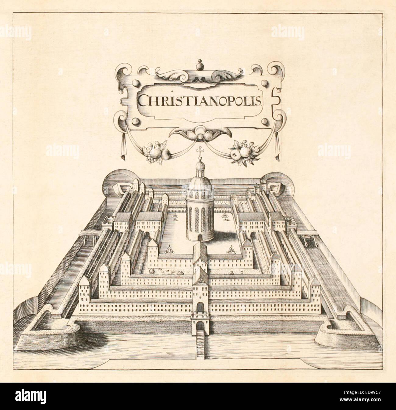 "Blick von Christianopolis 'Reipublicae Christianopolitanae Descriptio""von Johannes Valentinus Andreae (1586 Stockbild"