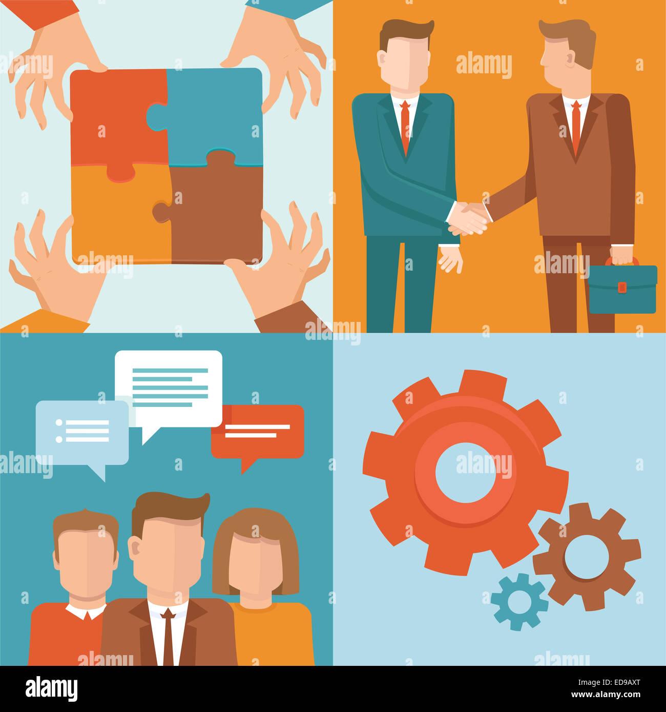Teamarbeit und Kooperationskonzepten im flachen Stil - Geschäft und Partnerschaft-Infografik-Design-Elemente Stockbild