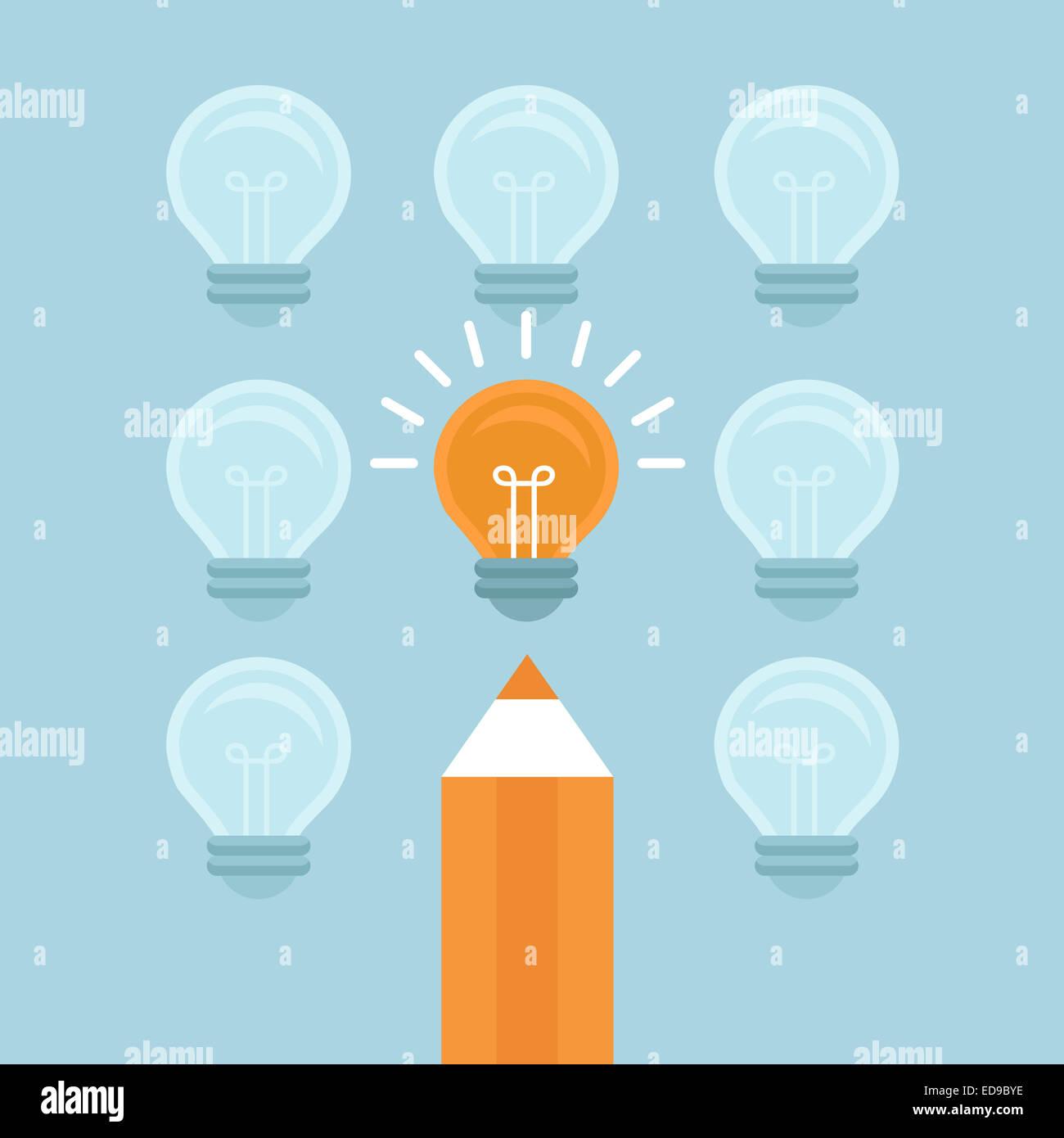Marketingkonzept in flachen Stil - von der Masse abheben - helle Glühbirne und Bleistift Stockfoto