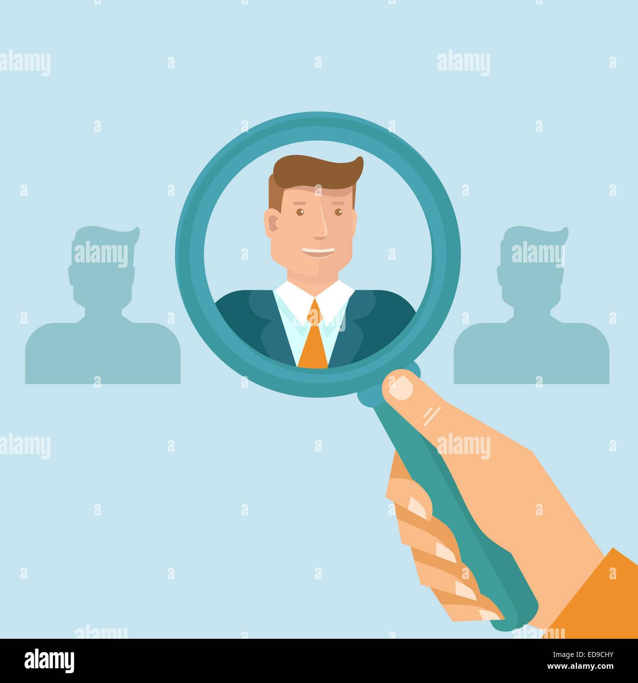 Human Resources - Headhunter auf der Suche nach professionellen für eine Vakanz Stockfoto