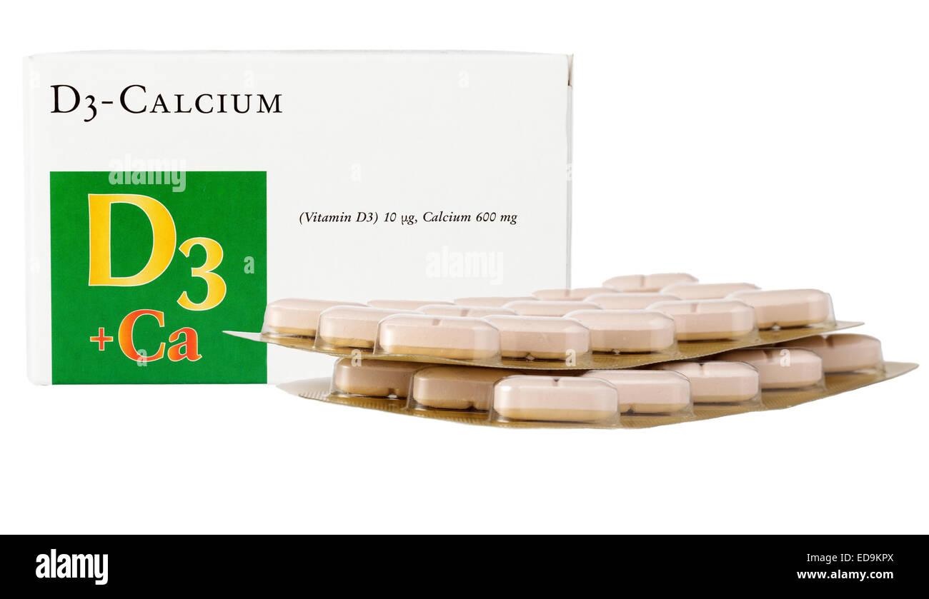 Kalzium und Vitamin D Tabletten Stockbild