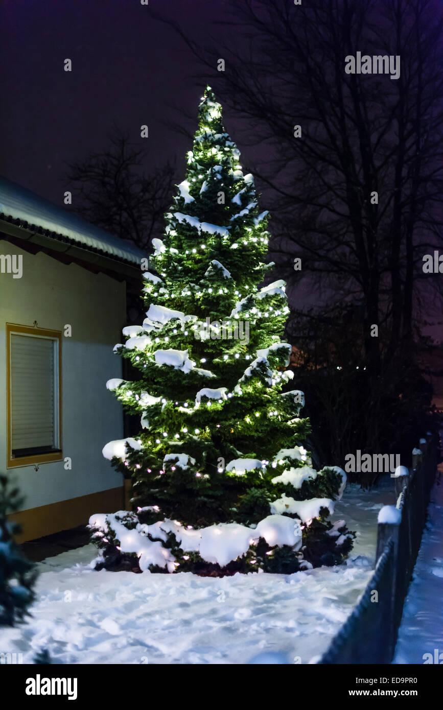 Künstlicher Tannenbaum Für Draußen.Festlich Geschmückten Weihnachtsbaum Tanne Draußen Im Schnee