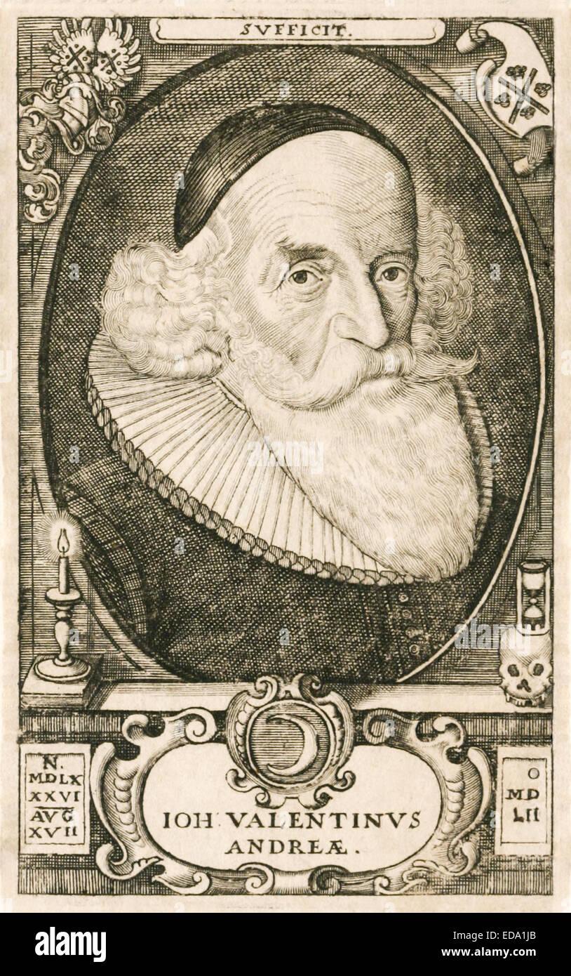 """Gravierte Portrait von Johannes Valentinus Andreae (1586-1654), deutscher Theologe, die Urheberschaft des """"Chymische Stockbild"""