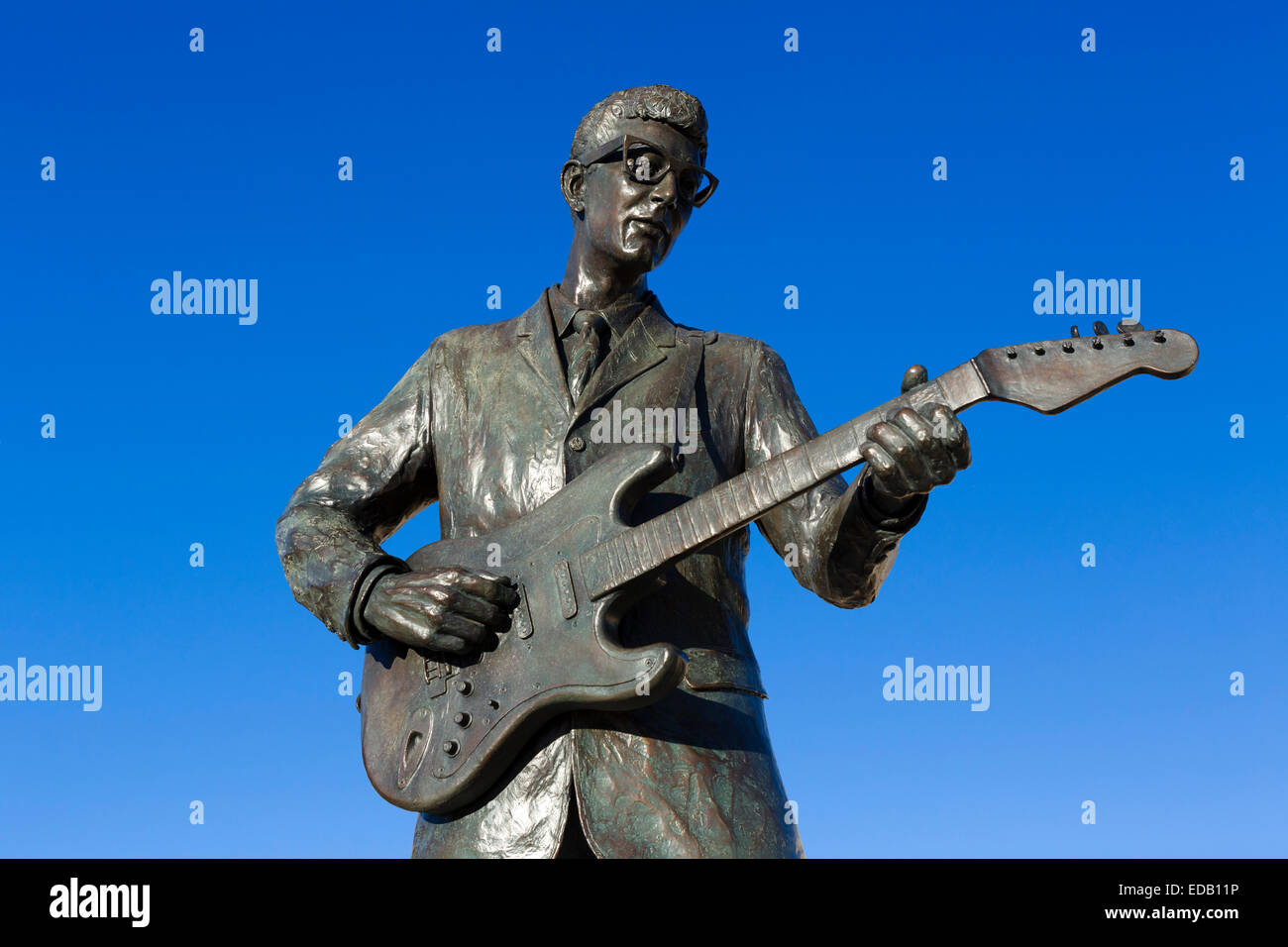 Statue von Buddy Holly auf dem Walk of Fame in Lubbock, Texas, USA Stockbild