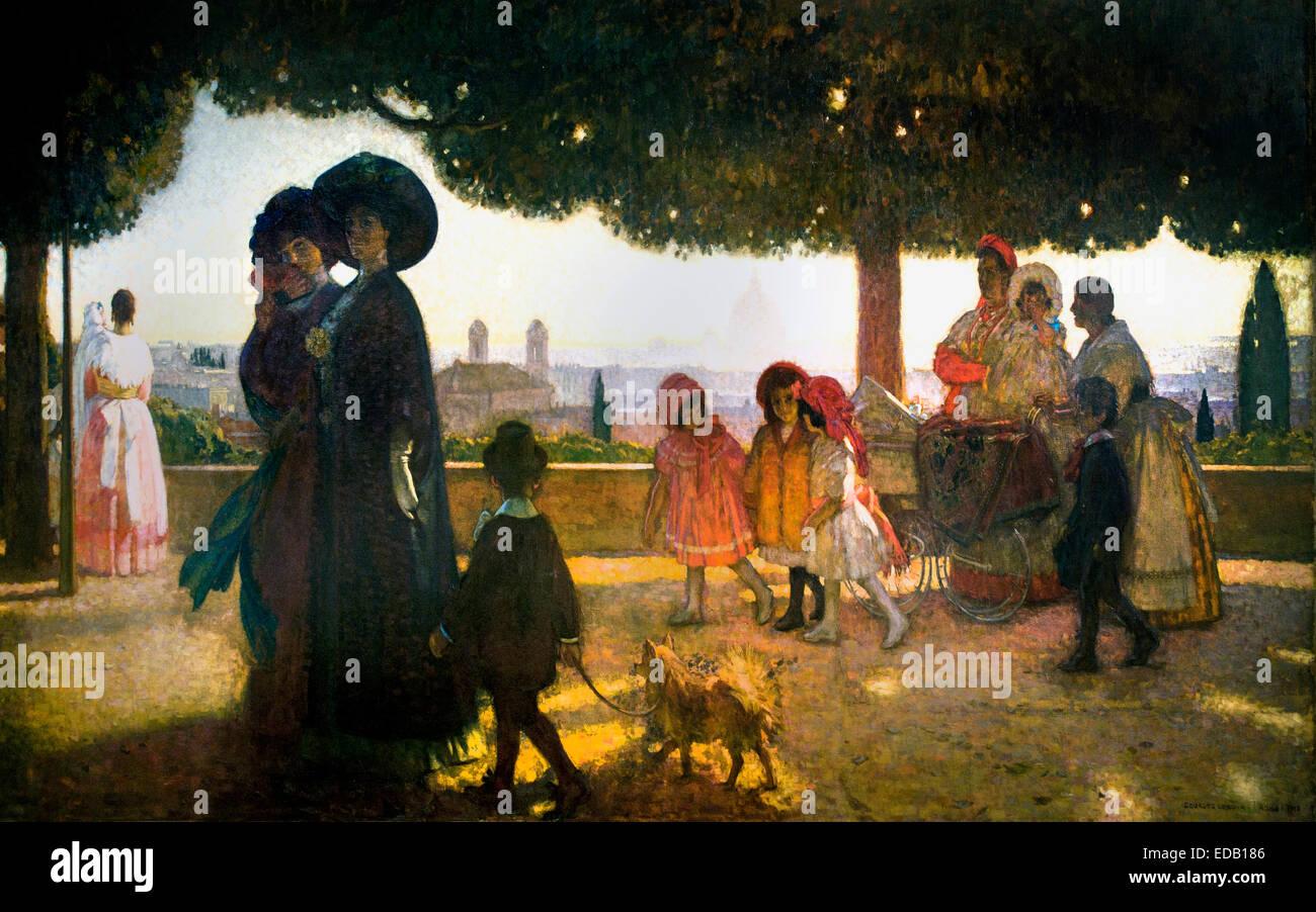 Ein Spaziergang auf Pinchian Hill 1910 von Jules Marie Auguste Leroux (Frankreich Französisch Stockbild