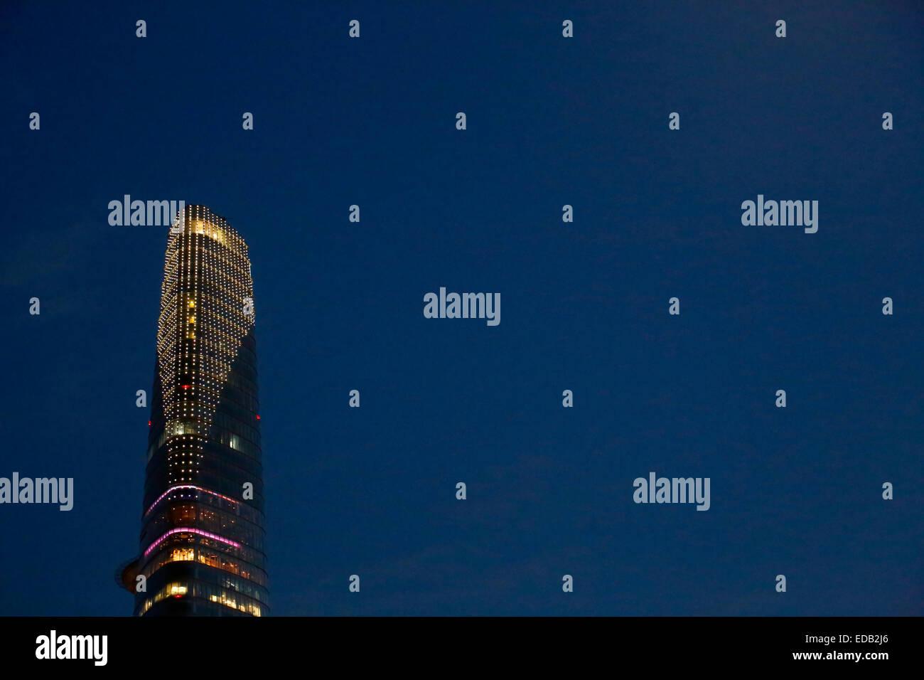Bitexco Financial Tower in der Nacht in Ho-Chi-Minh-Stadt, Vietnam Stockbild
