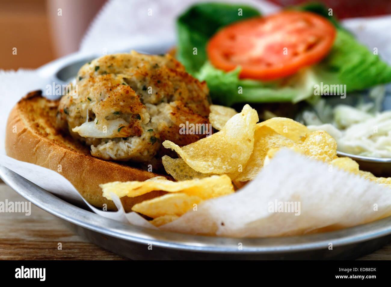 Nahaufnahme eines Maryland blaue Krabbe Sandwiches, Baltimore, Maryland Stockbild