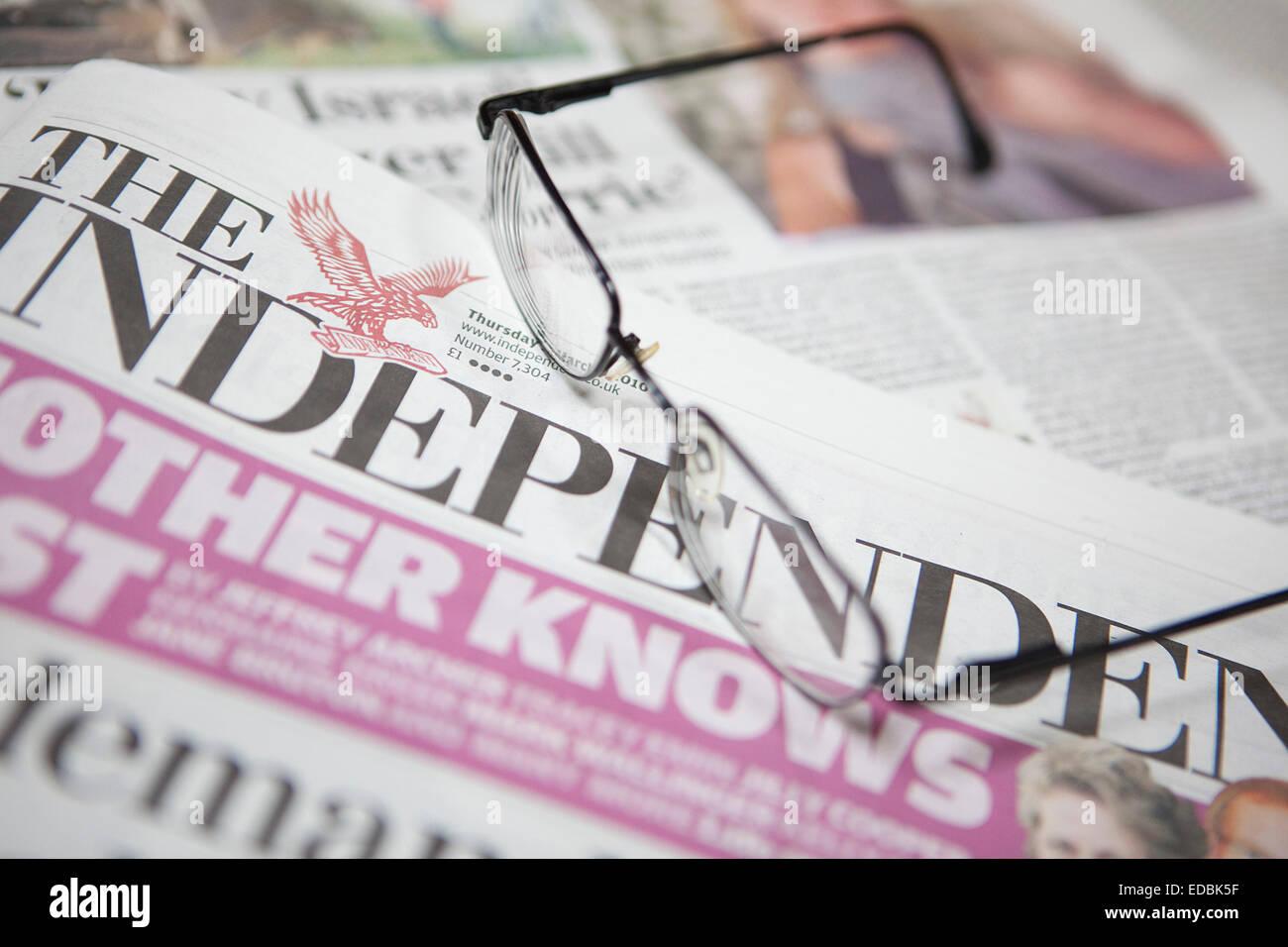 Anschauliches Bild der Zeitung The Independent Stockbild