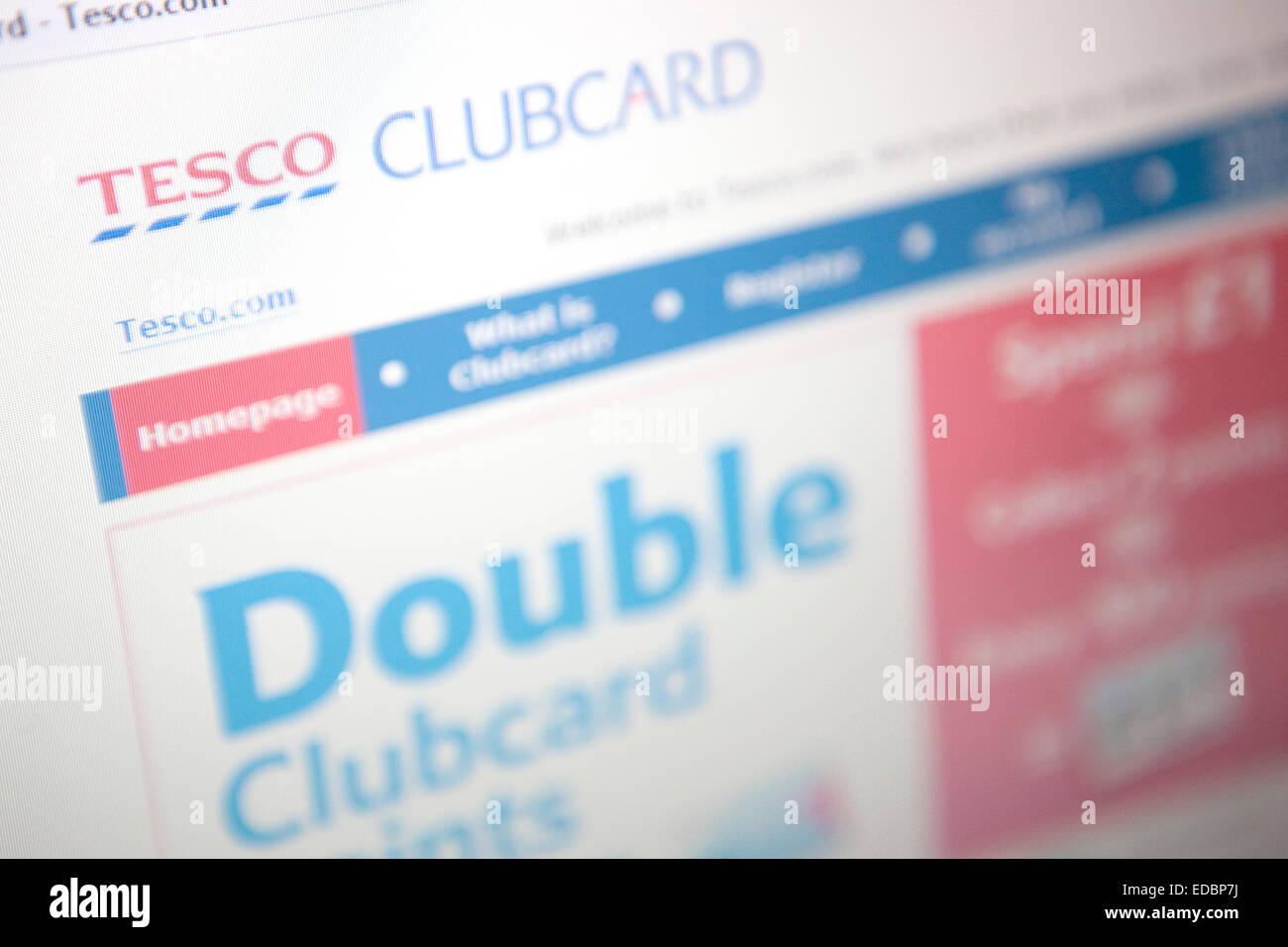 Anschauliches Bild von der Tesco-website Stockbild