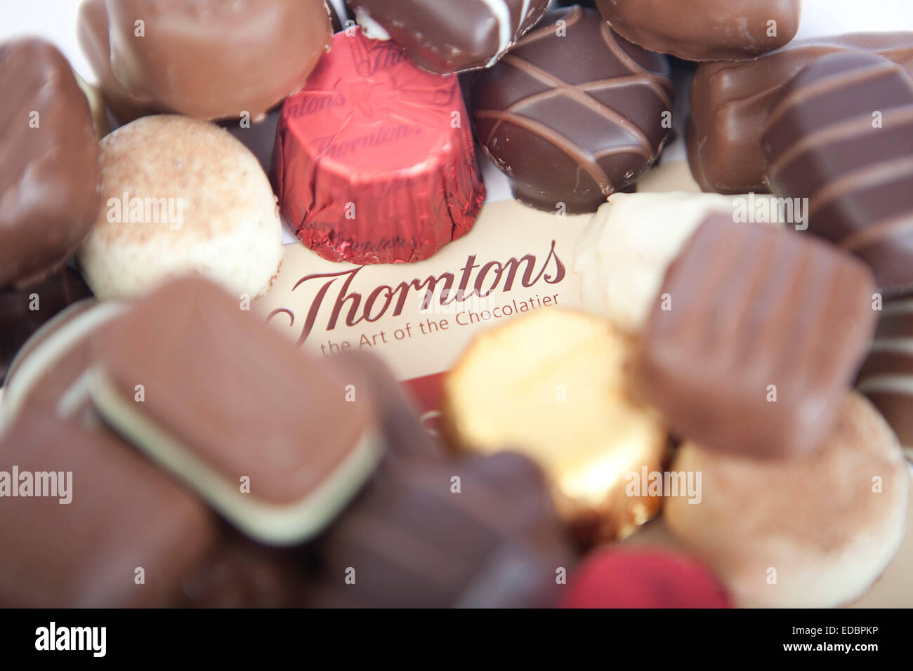Anschauliches Bild von Thorntons Schokolade. Stockbild