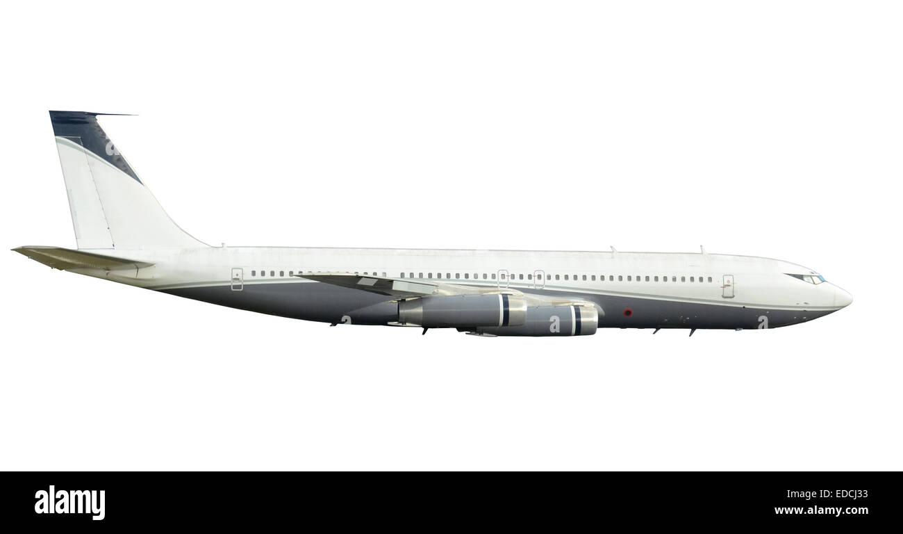 Jet Flugzeug aus dem frühen Jet-Ära Seitenansicht Boeing 707 isoliert Stockbild