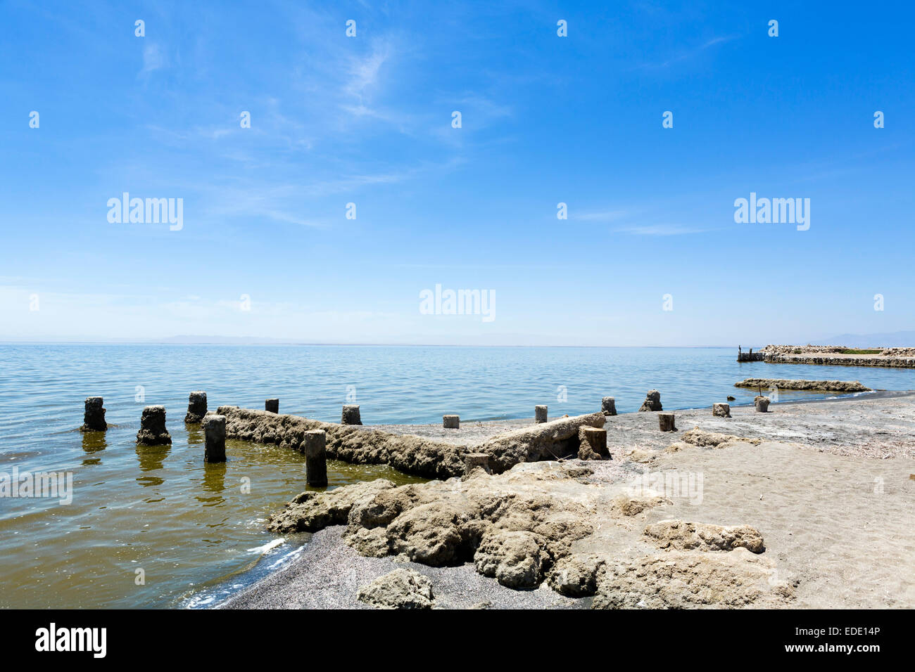 The Salton Sea in Bombay Beach, Imperial County, Kalifornien, USA Stockbild