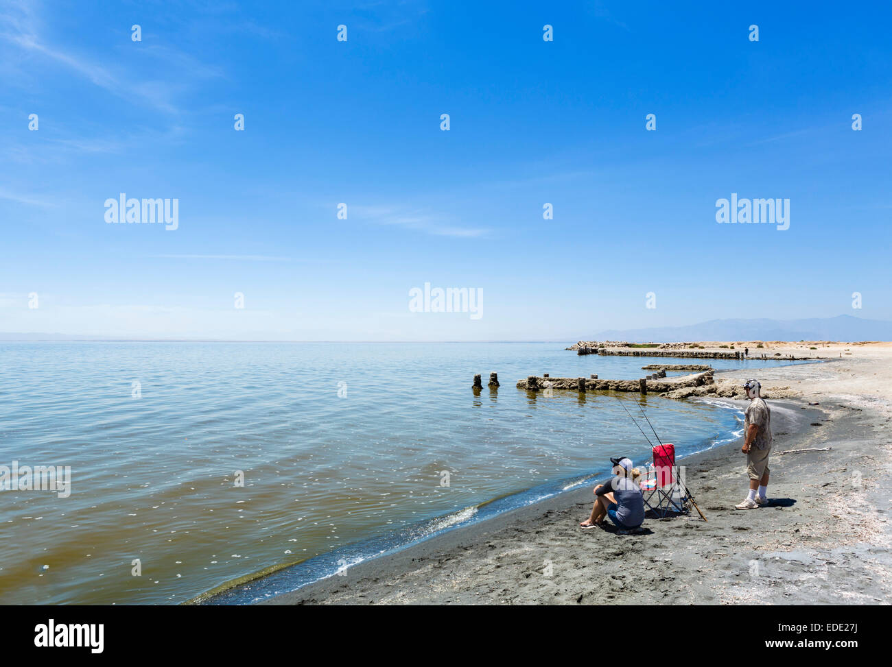Fischer von der the Salton Sea in Bombay Beach, Imperial County, Kalifornien, USA Stockbild