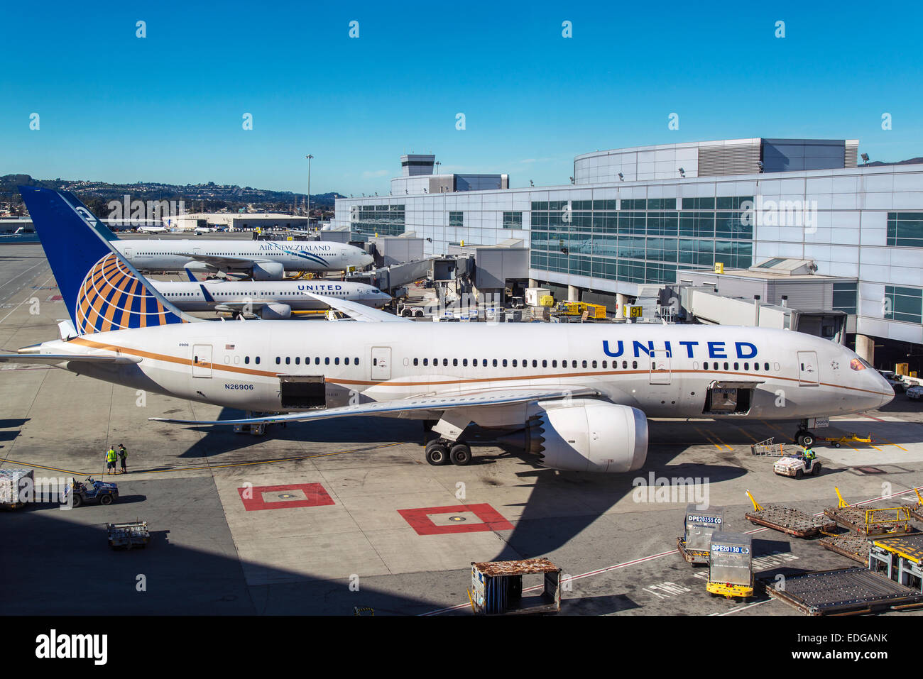 United Airlines Boeing 787-800 Dreamliner am internationalen Flughafen San Francisco, San Francisco, Kalifornien, Stockbild