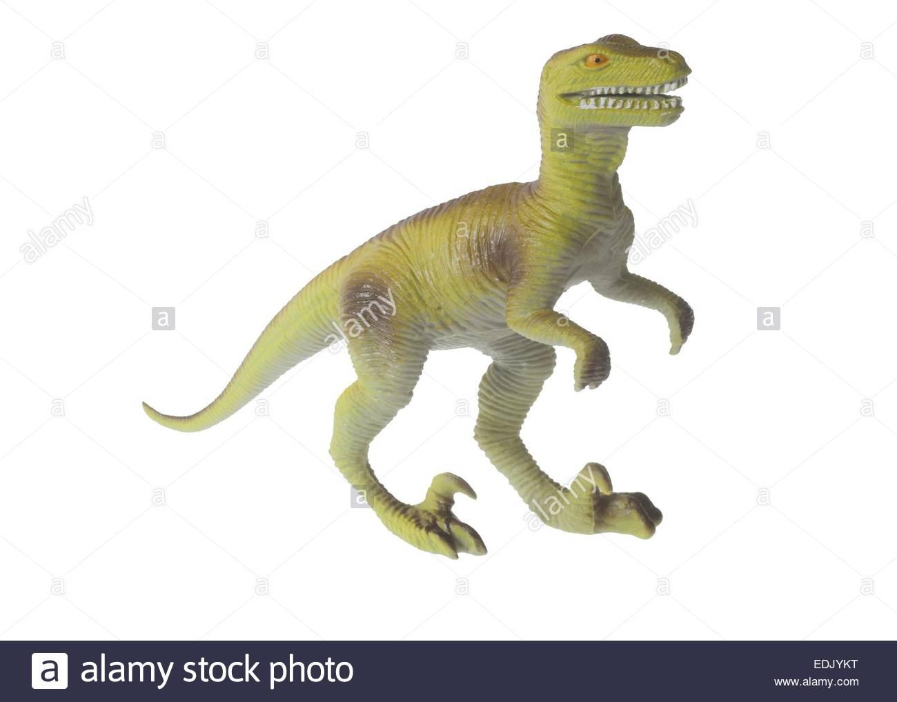 Dinosaurier Spielzeug auf weißem Hintergrund Stockbild