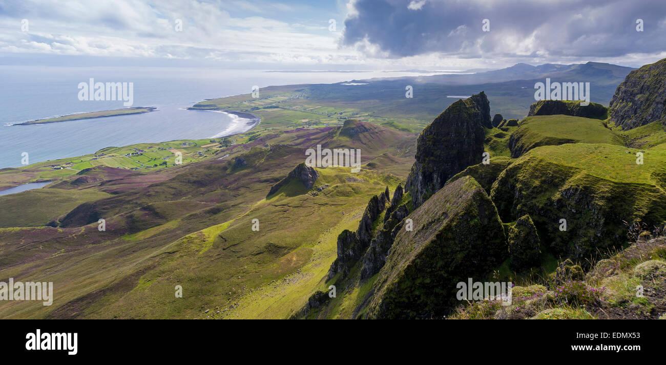 Das Quiraing Isle Skye Panorama vom Tisch staffin Stockbild