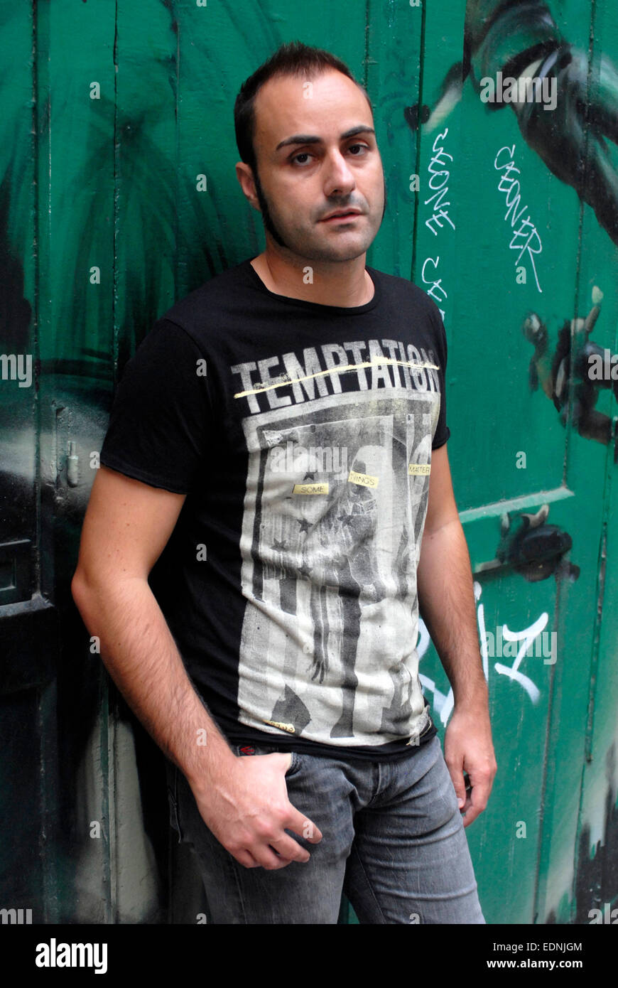 Porträt von Oscar Gual, spanischer Schriftsteller und Autor, in Barcelona Stockbild