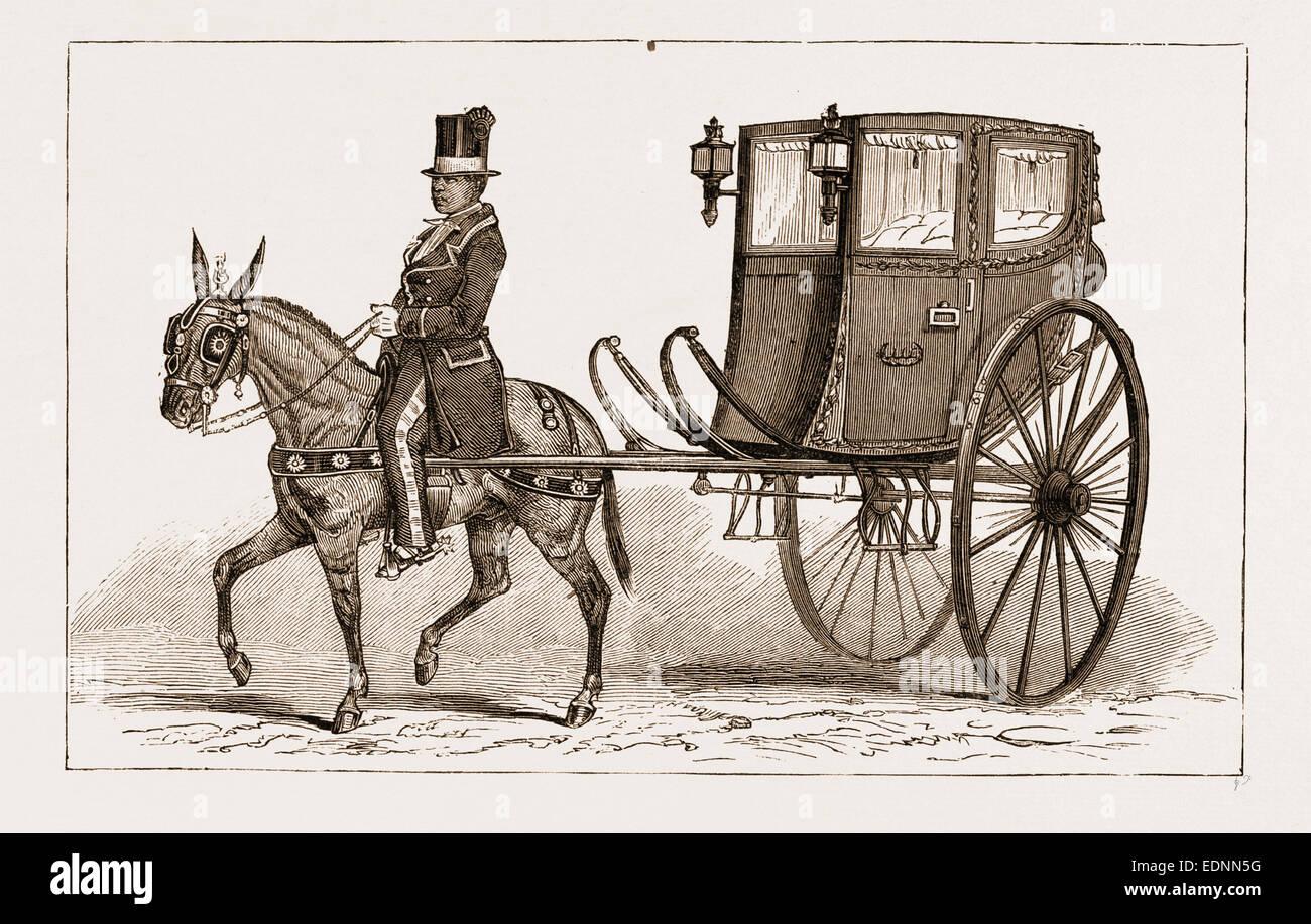 """DIE """"CALEZA"""" ODER ALTMODISCHE BEFÖRDERUNG DES LANDES, LIMA, PERU, 1881 Stockfoto"""