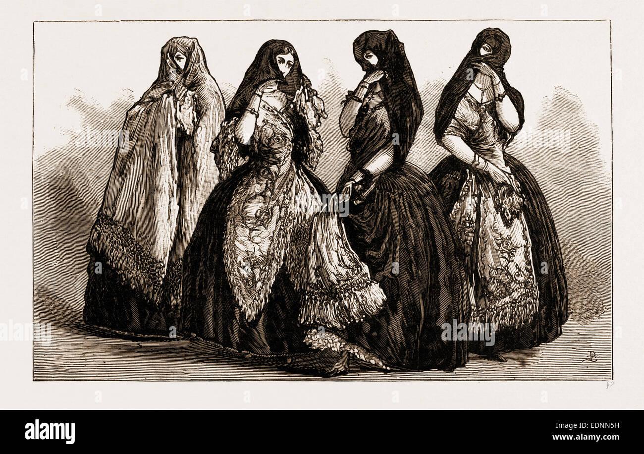 LA TAPADA: ALTMODISCHE TRACHT DER DAMEN VON LIMA, PERU, 1881 Stockbild