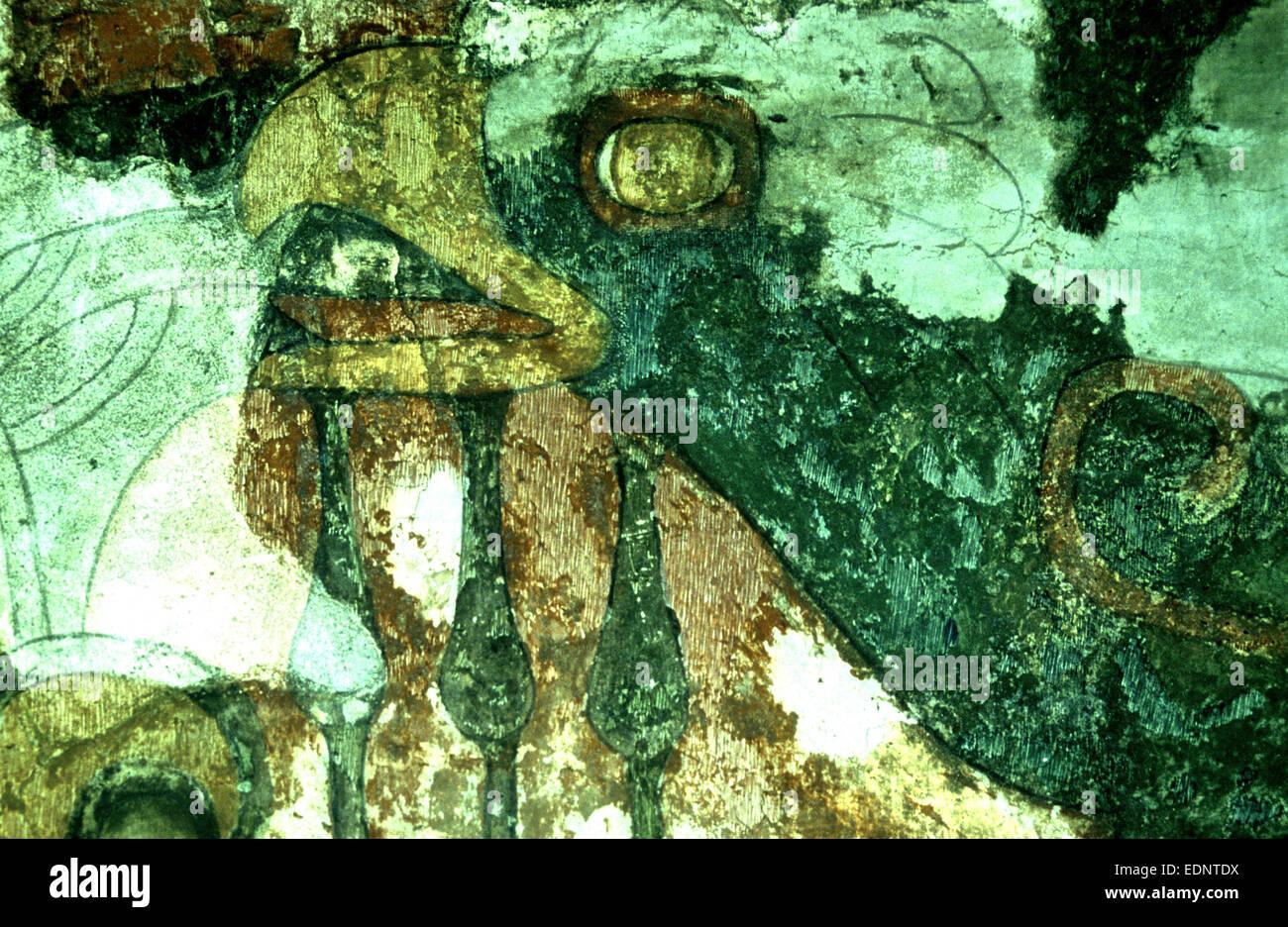 Der Eagle-Gott auf einer Wandmalerei als Hiutzilopochtli auch bekannt als der Sonnengott in der aztekischen Kultur Stockbild
