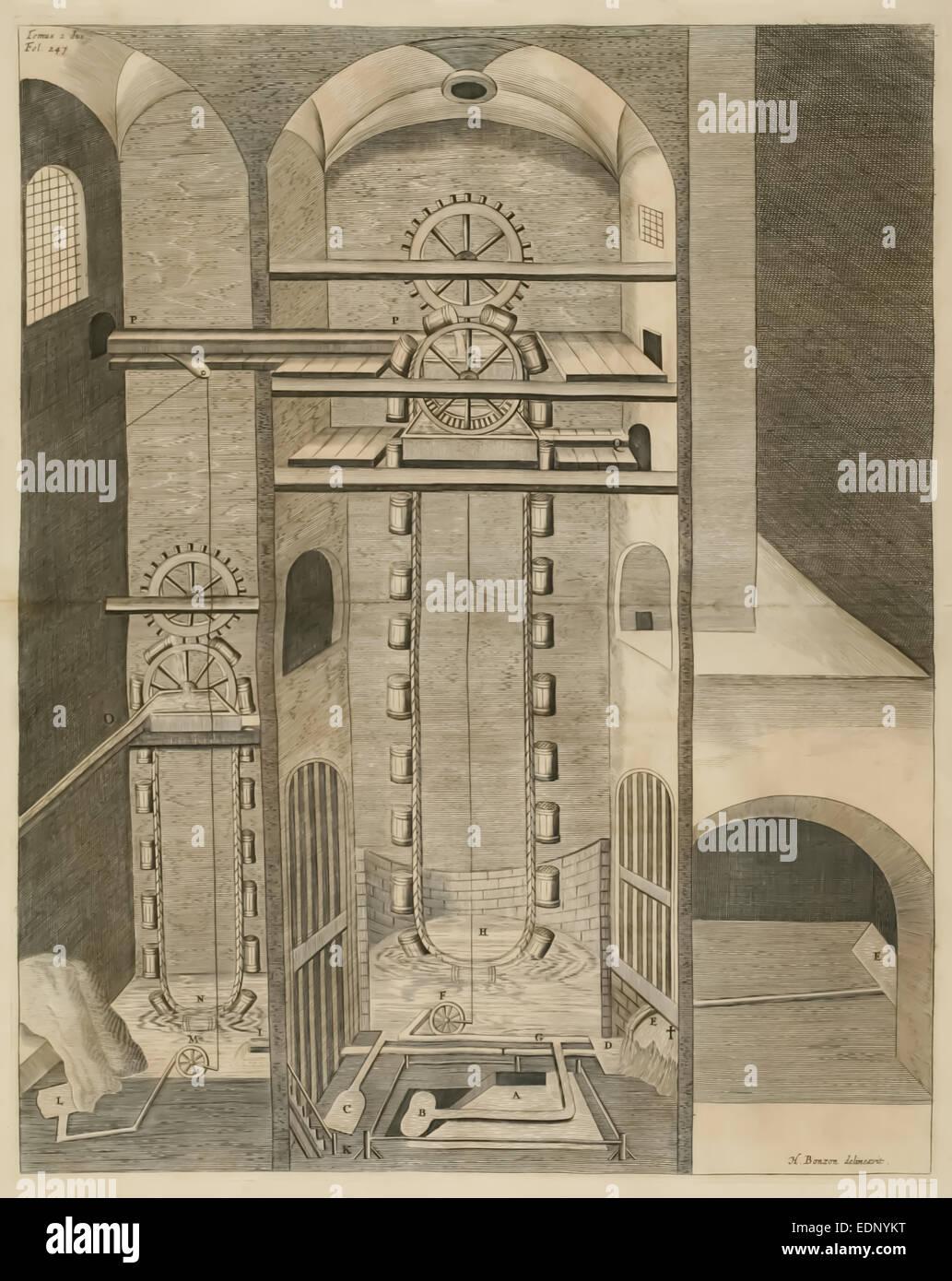 17. Jahrhundert Illustration Wasserrad. Siehe Beschreibung für mehr Informationen. Stockbild