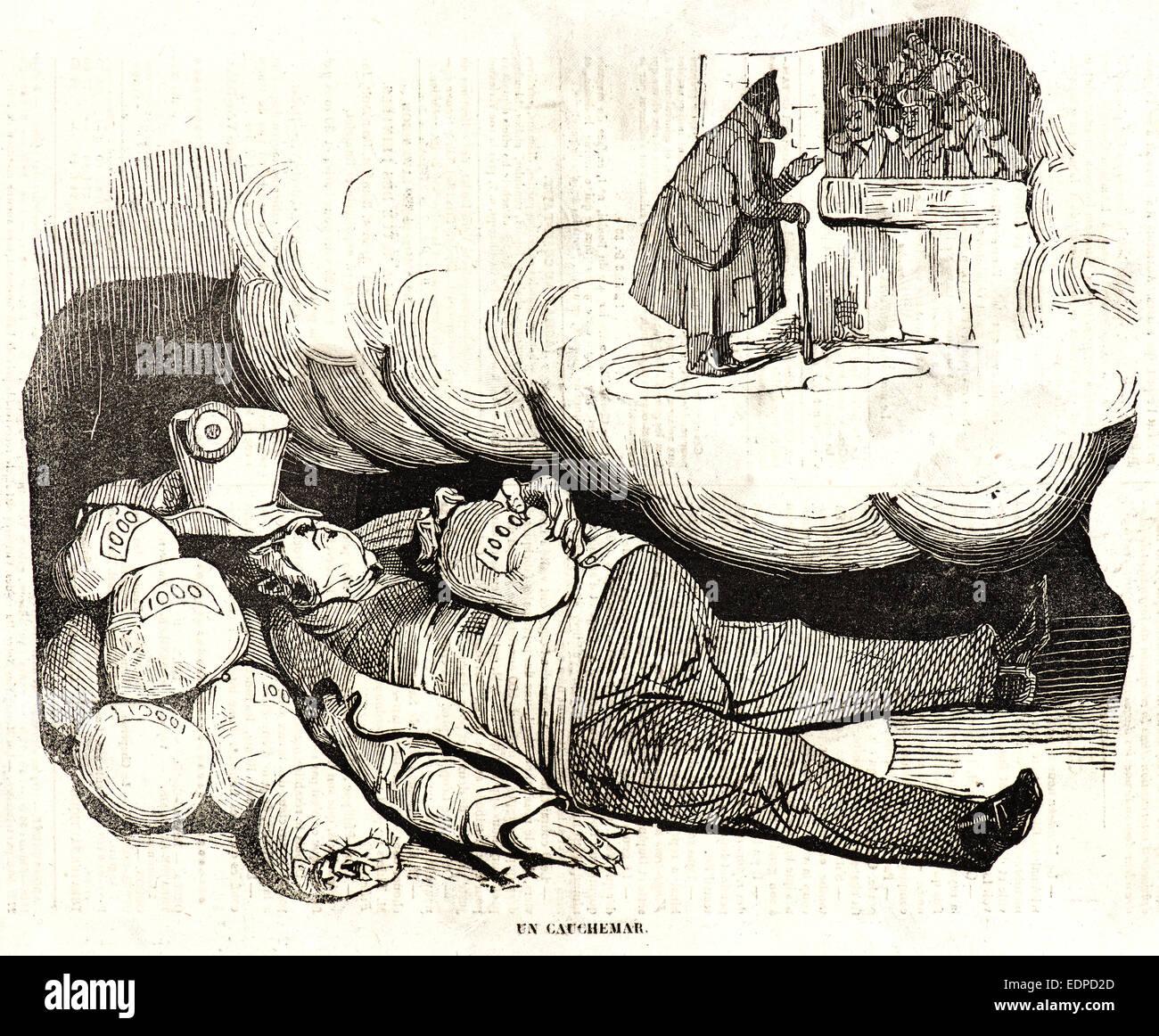 Honoré Daumier (Französisch, 1808-1879). UN Cauchemar, 1834. Holzschnitt auf Zeitungspapier Stockbild