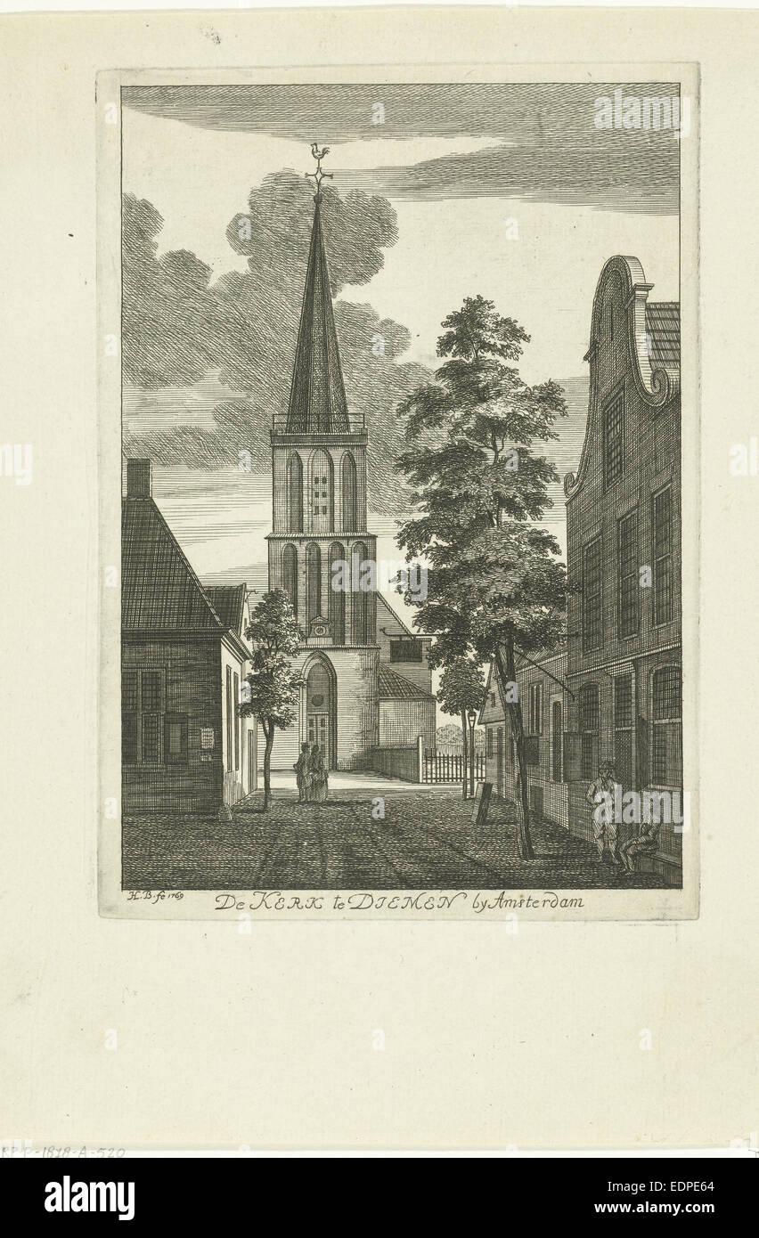 Dorf-Szene mit Kirche in Diemen Niederlande, Hendrik Berg, 1769 Stockbild