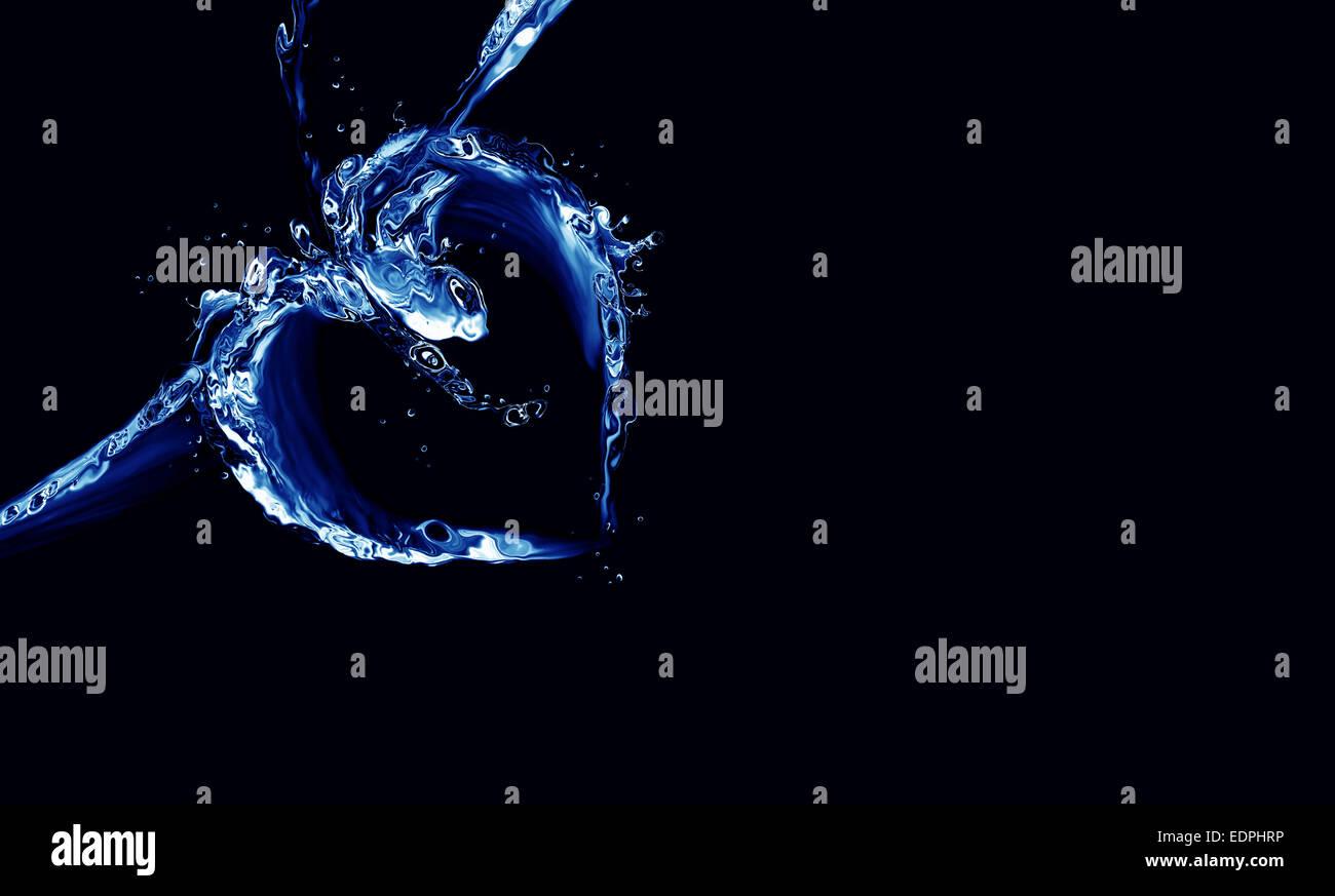 Ein Herz, blaue Flüssigkeit auf schwarz gemacht. Stockbild
