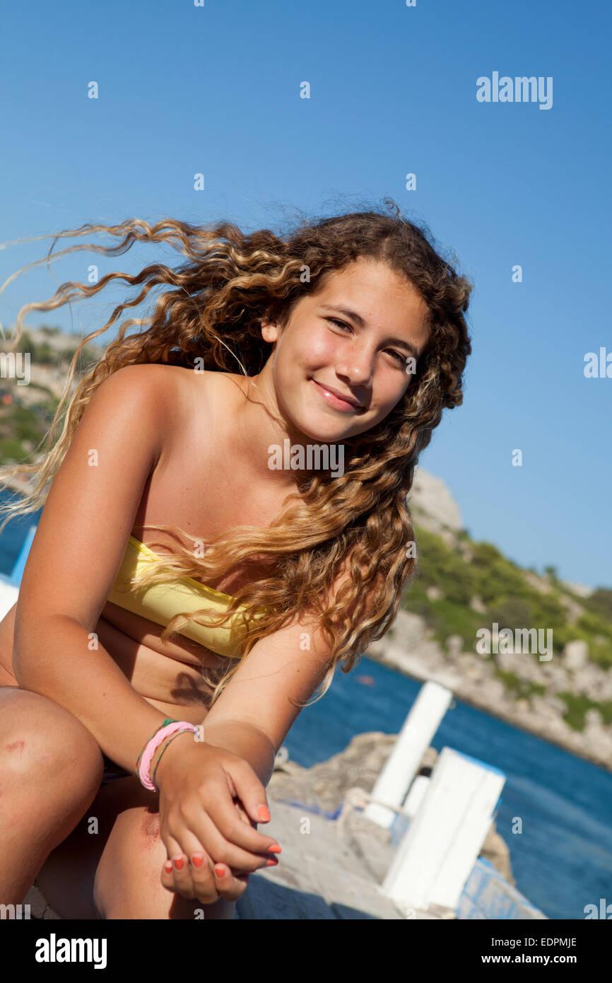 Lockiges Haar Brünette Teen