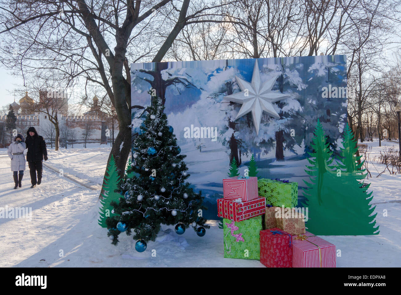 Orthodoxe Weihnachten.Moskau Russland 7 Januar 2015 Leute Feiern Orthodoxe