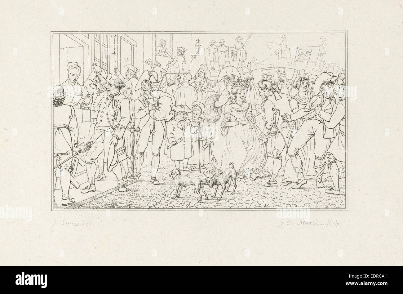 Viele Bürgerinnen und Bürger in einer Straße, Jacob Ernst Marcus, 1807 Stockbild