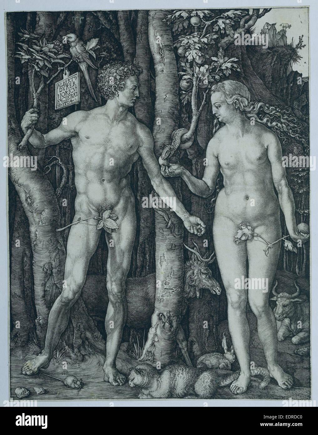 Adam und Eva, Albrecht Dürer 1504 Stockbild