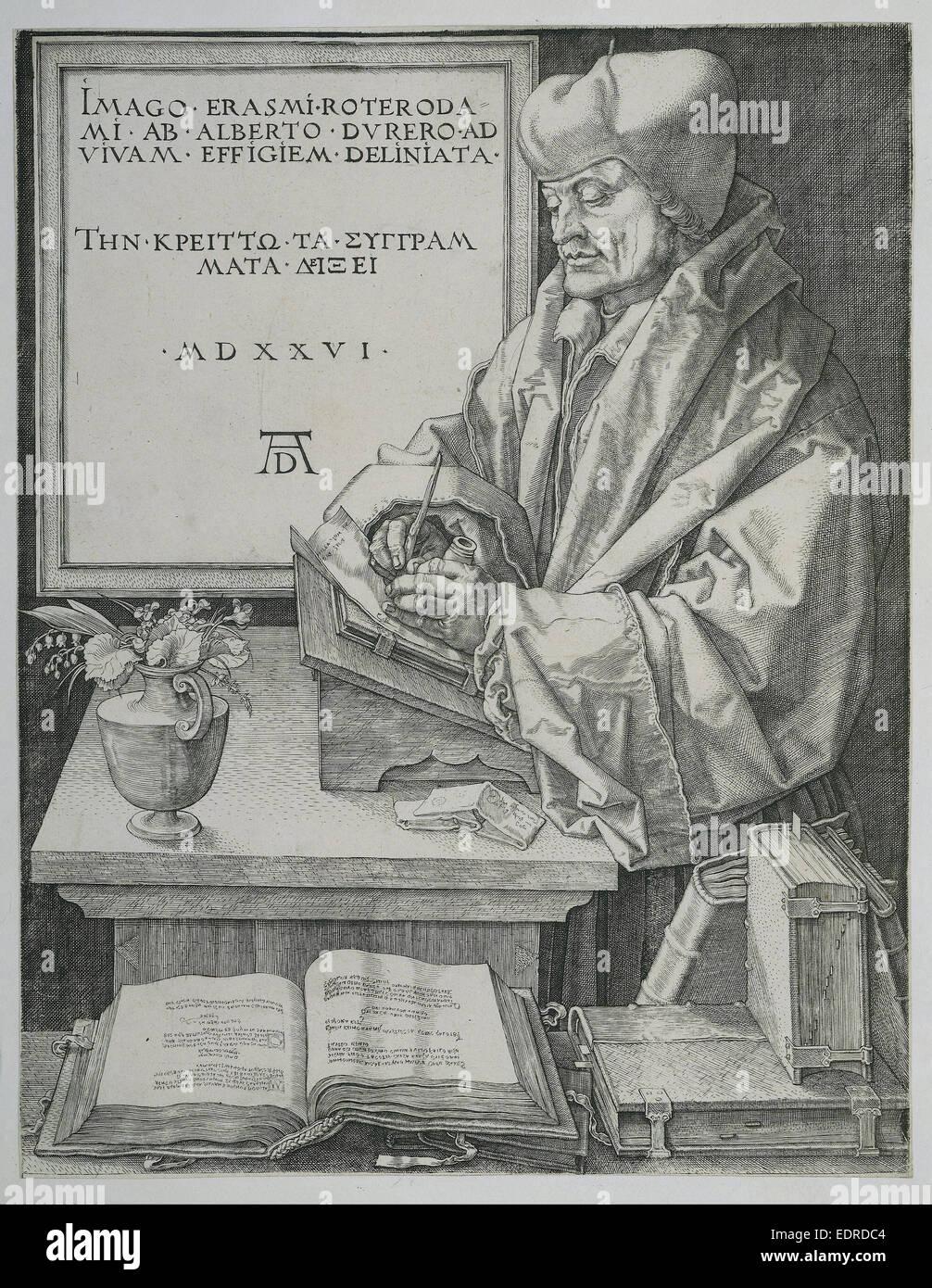 Porträt des Erasmus-Programms, Albrecht Dürer, 1526 Stockbild