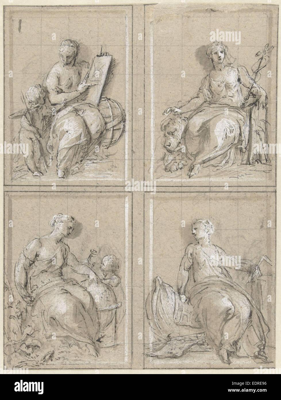 Mathematik, Commerce, Geographie und Schiffbau, Jacob de Wit, 1695-1754 Stockbild