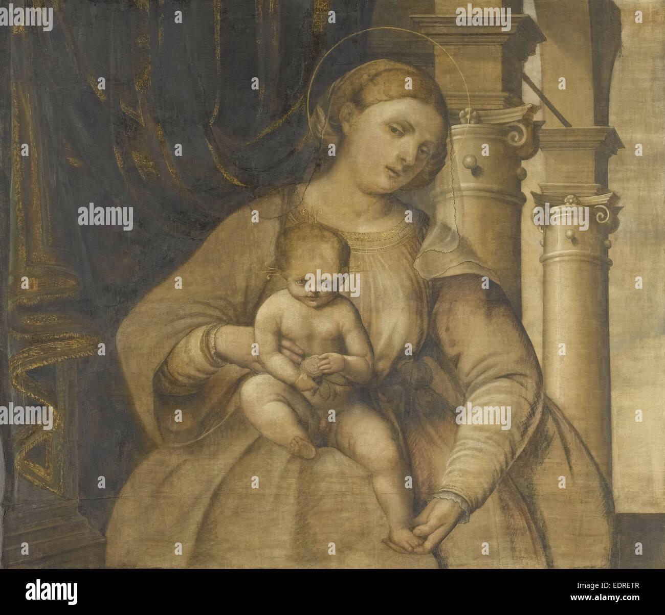 Madonna mit Kind, Kreis von Pordenone, 1525-1550 Stockbild