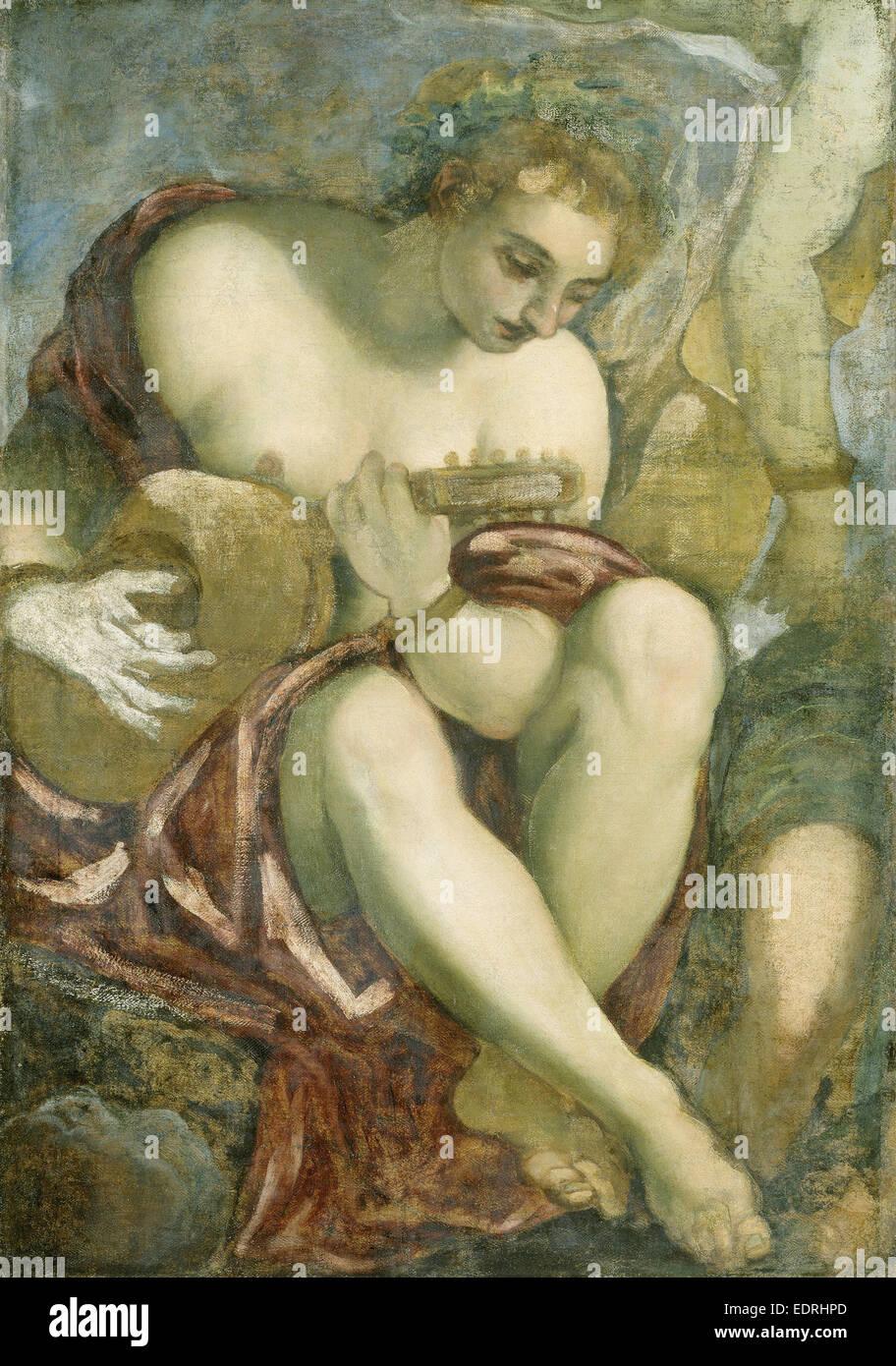 Muse mit Laute, Jacopo Tintoretto, 1528-1594 Stockbild