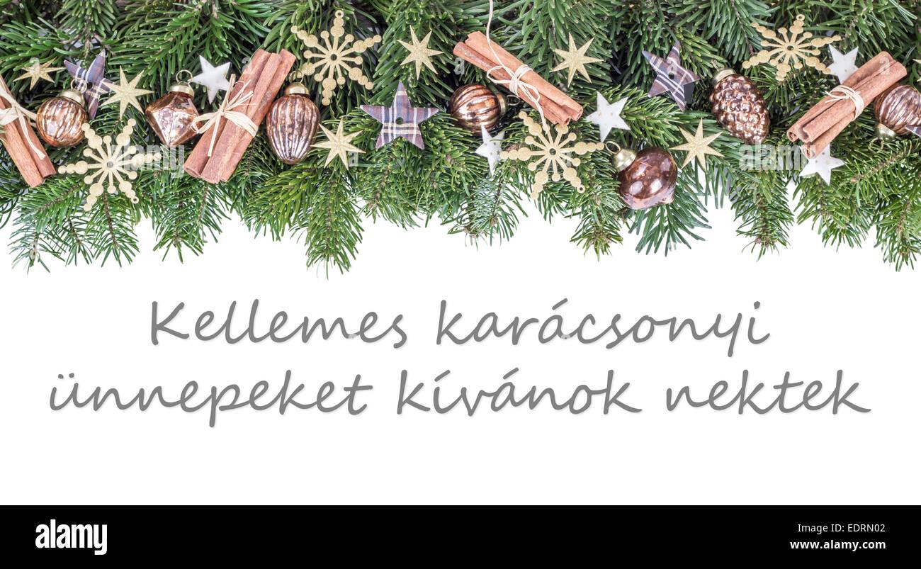 Frohe Weihnachten Ungarisch.Ungarische Weihnachtskarte Mit Weihnachtskugeln
