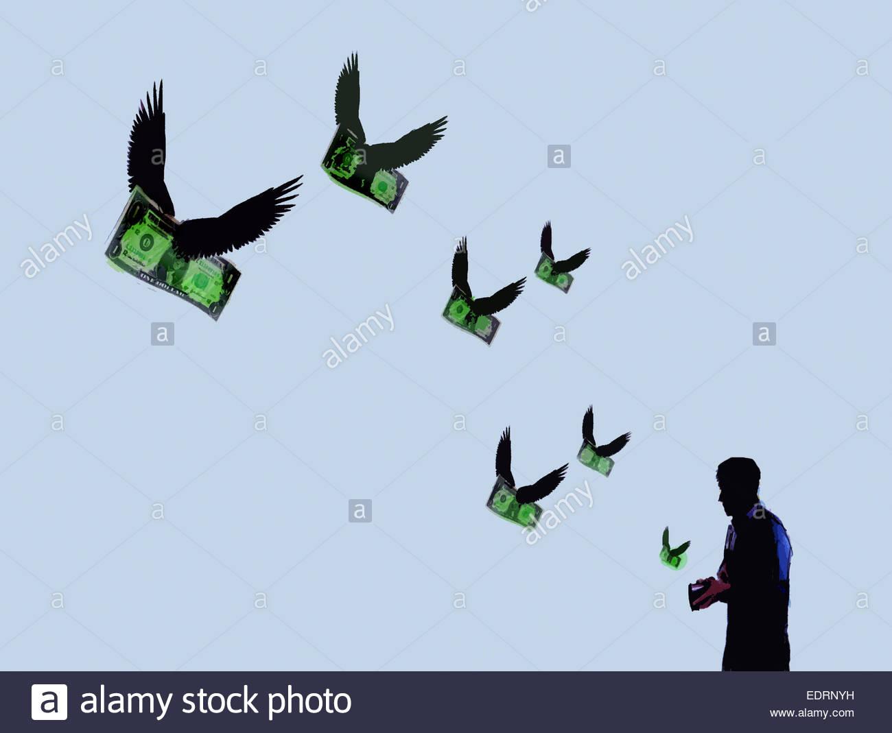 Geld mit Flügeln fliegen aus der Brieftasche des Mannes Stockbild