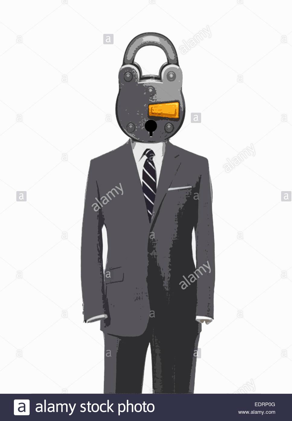 Vorhängeschloss-Kopf auf leere Business-Anzug Stockbild