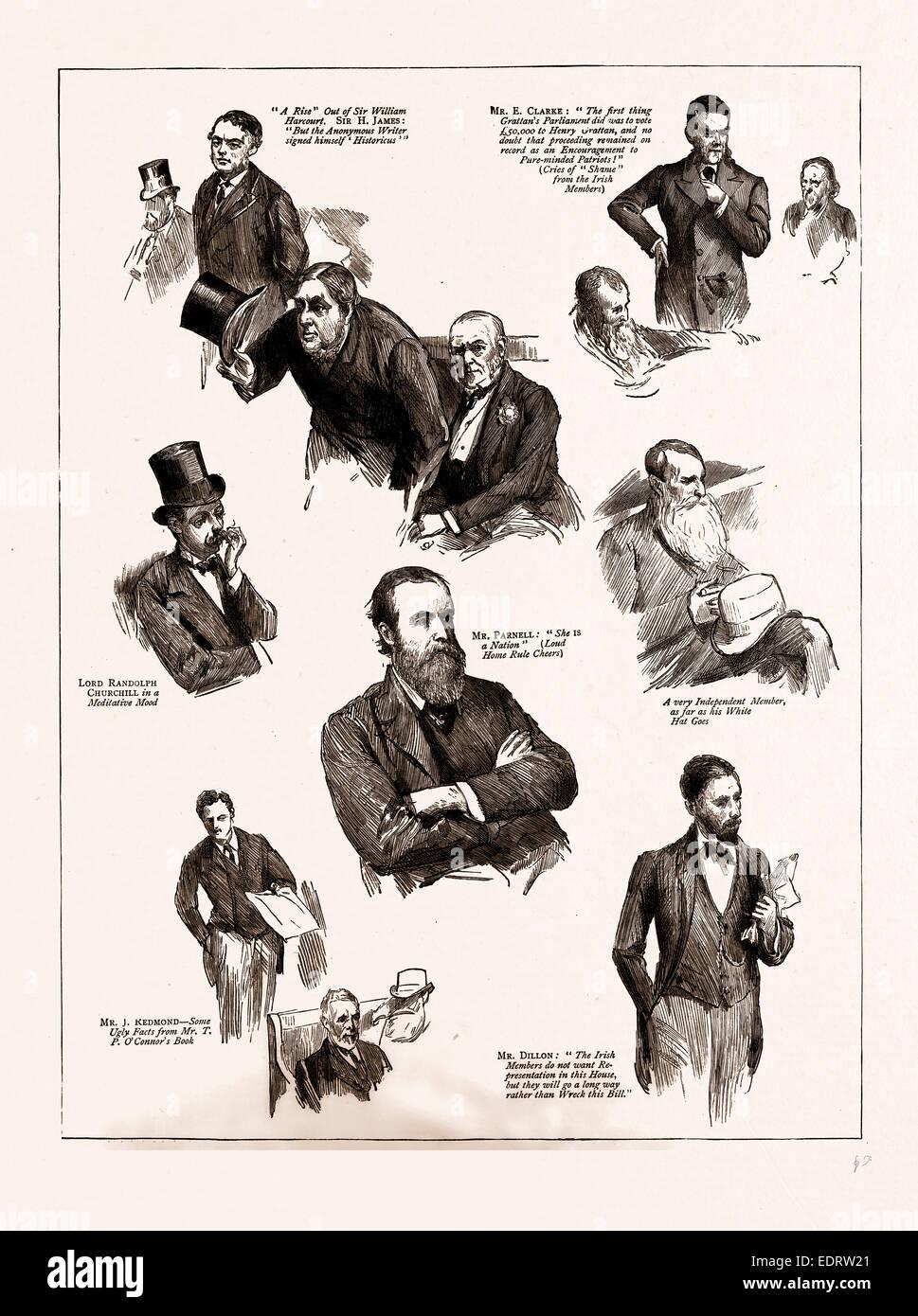 DER HOME RULE-DEBATTE: NOTIZEN IM HOUSE OF COMMONS, LONDON, UK, 1886 Stockbild