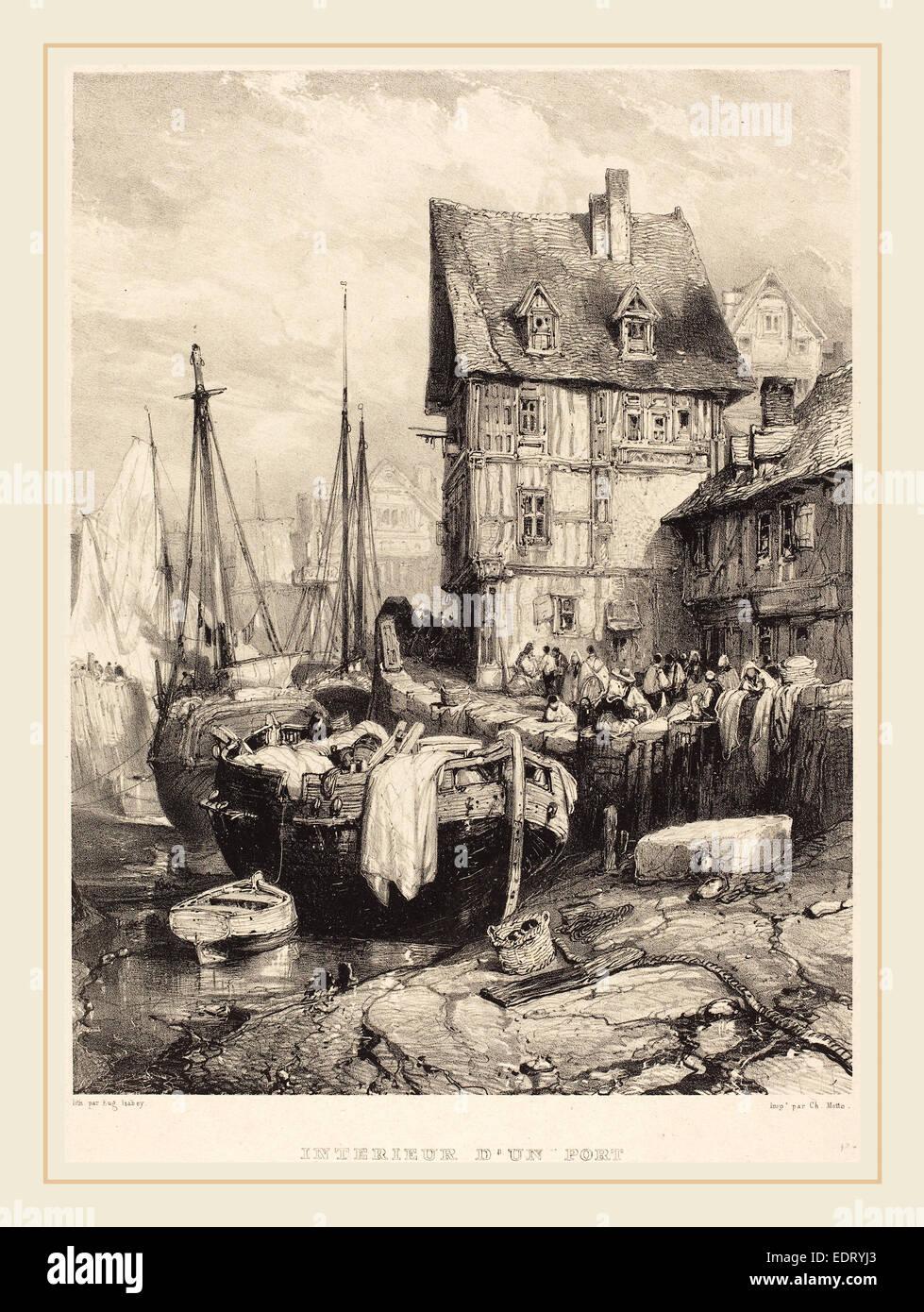 Eugène Isabey (Französisch, 1803-1886), Intérieur d ' un Port, 1833, Lithographie Stockbild