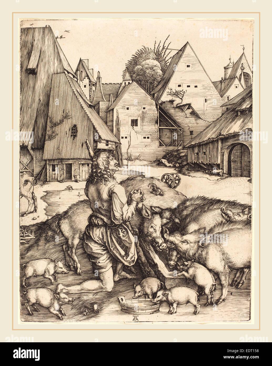 Albrecht Dürer (Deutsch, 1471-1528), der verlorene Sohn, c. 1496, Gravur Stockbild