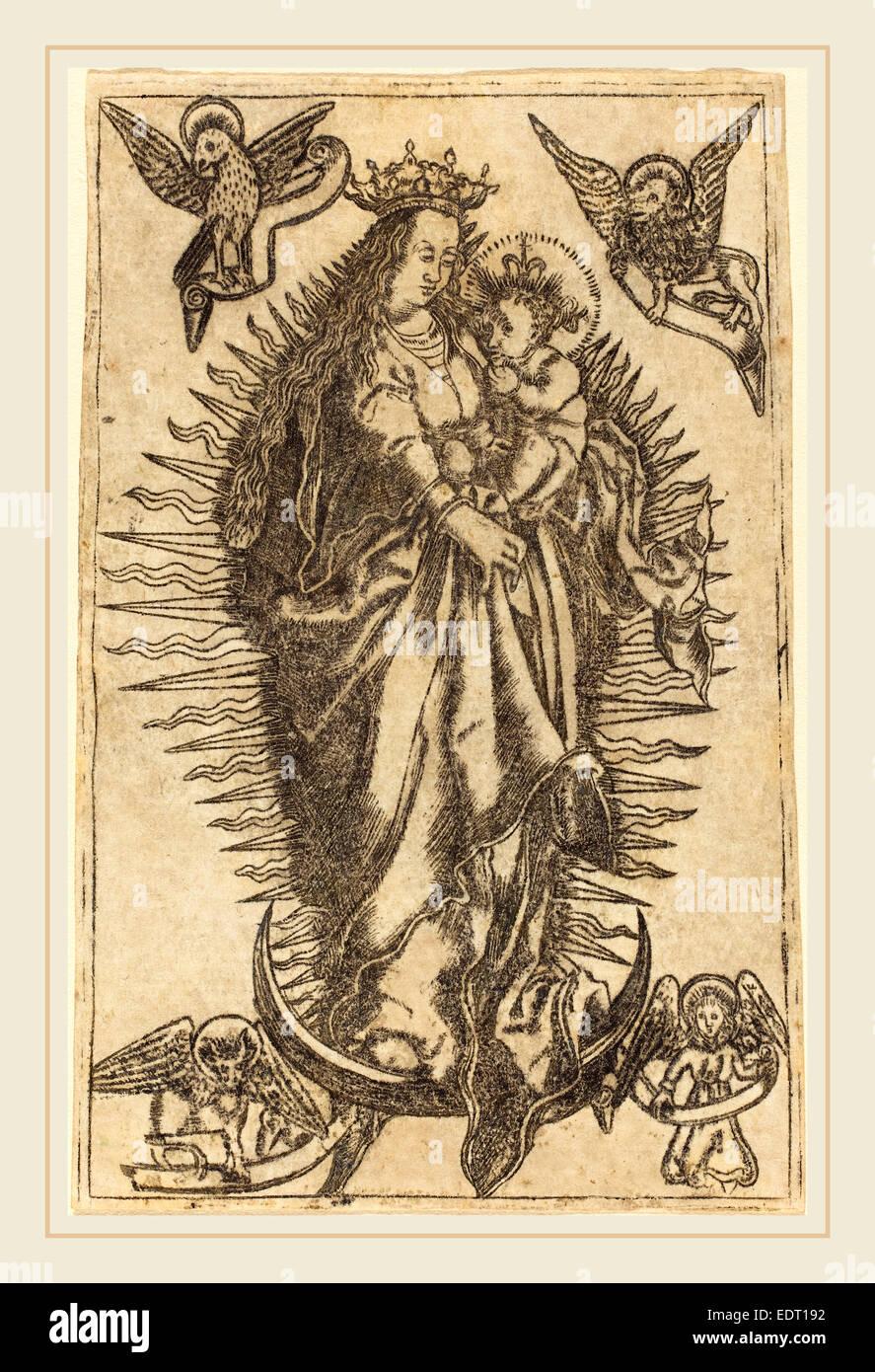 Deutsch aus dem 16. Jahrhundert, Madonna mit Kind, Gravur Stockbild