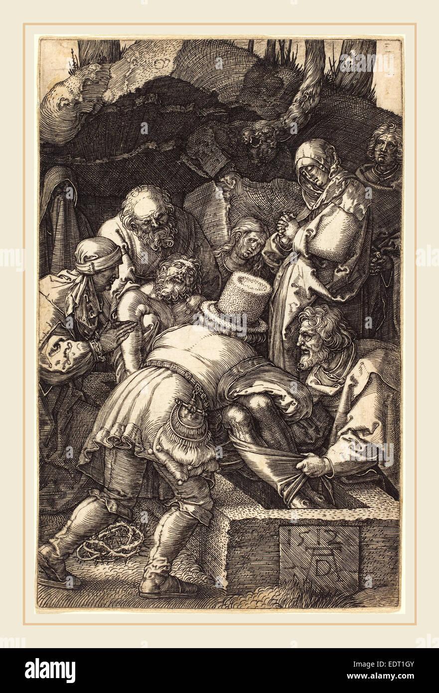 Albrecht Dürer (Deutsch, 1471-1528), die Grablegung, 1512, Gravur Stockbild