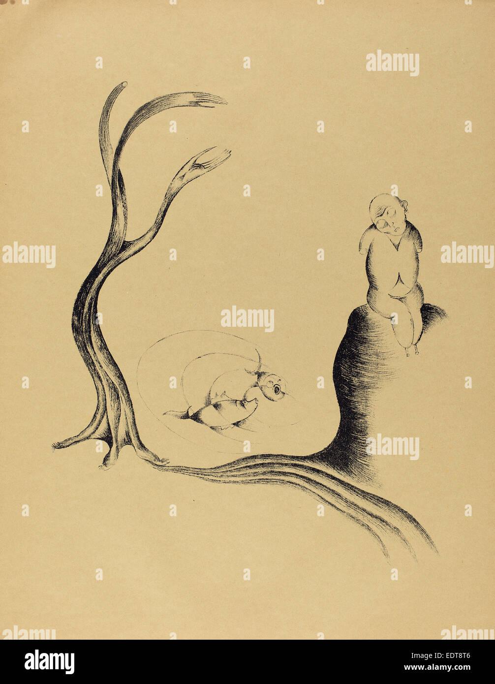 Heinrich Hoerle, Der Baum der Sehnsucht (der Baum der Sehnsucht), Deutsch, Lithographie 1895-1936, 1920, auf dem Stockbild