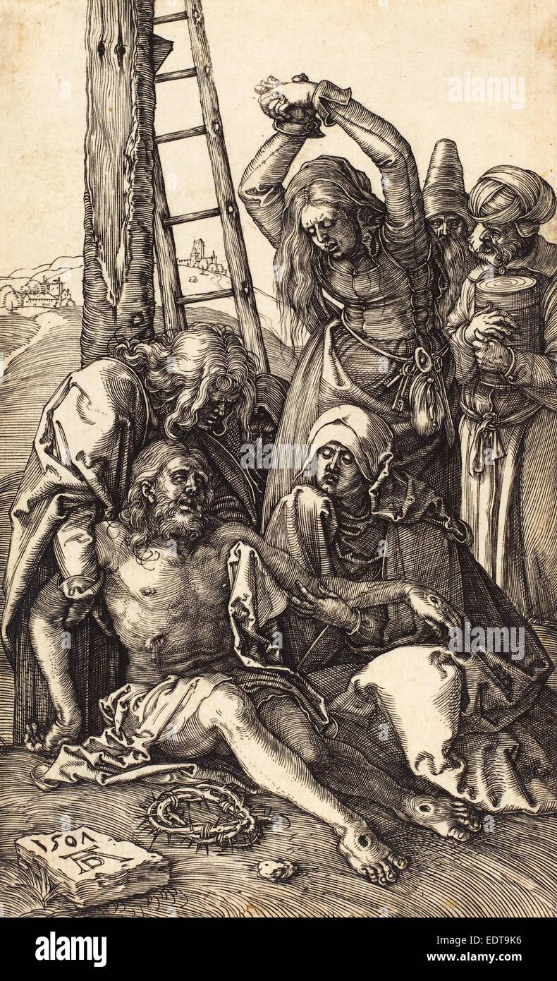 Albrecht Dürer (Deutsch, 1471-1528), die Wehklage, 1507, Gravur Stockbild